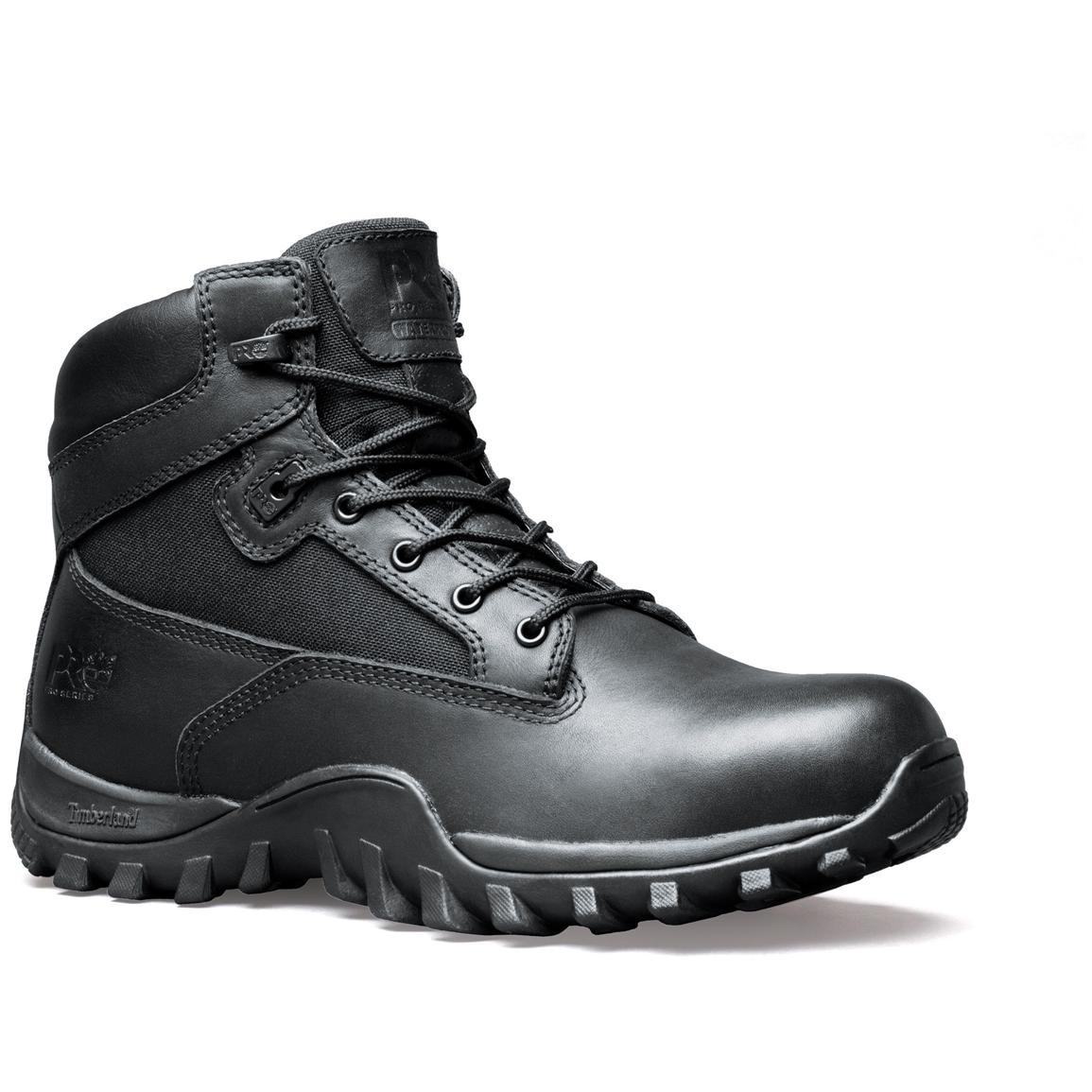 Men's Timberland PRO® Valor™ Series 6 inch McClellan Waterproof Soft Toe Duty Boots, Black