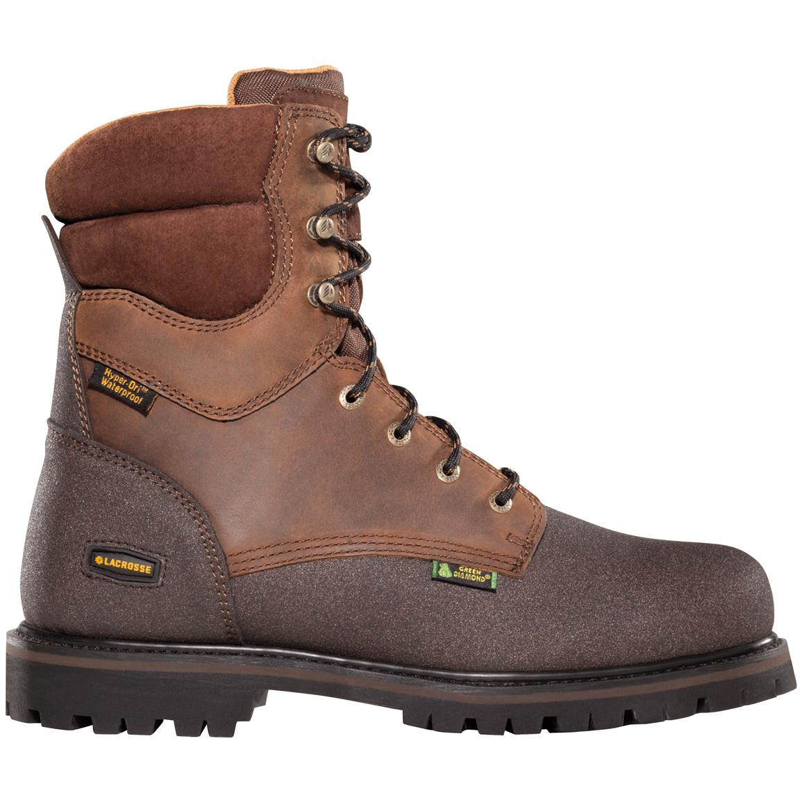 "Men's LaCrosse® 8"" Extreme Tough™ Waterproof Safety Toe 600-gram Thinsulate™ Ultra Insulation Work Boots, Brown"