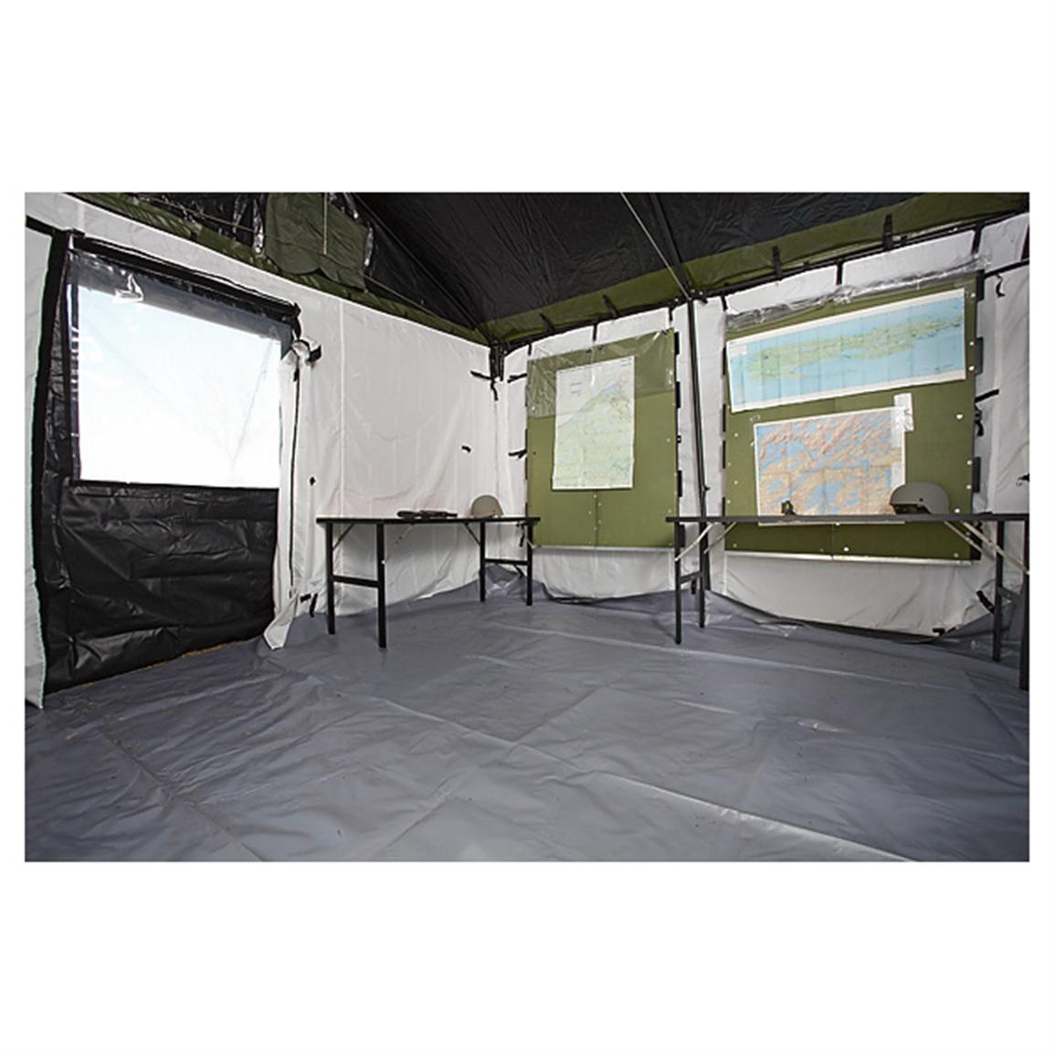 Huge 11 x 11 foot interior and two 36 x 36  covered windows  sc 1 st  Sportsmanu0027s Guide & New U.S. Military Surplus 11x11u0027 Waterproof Tactical Command Post ...