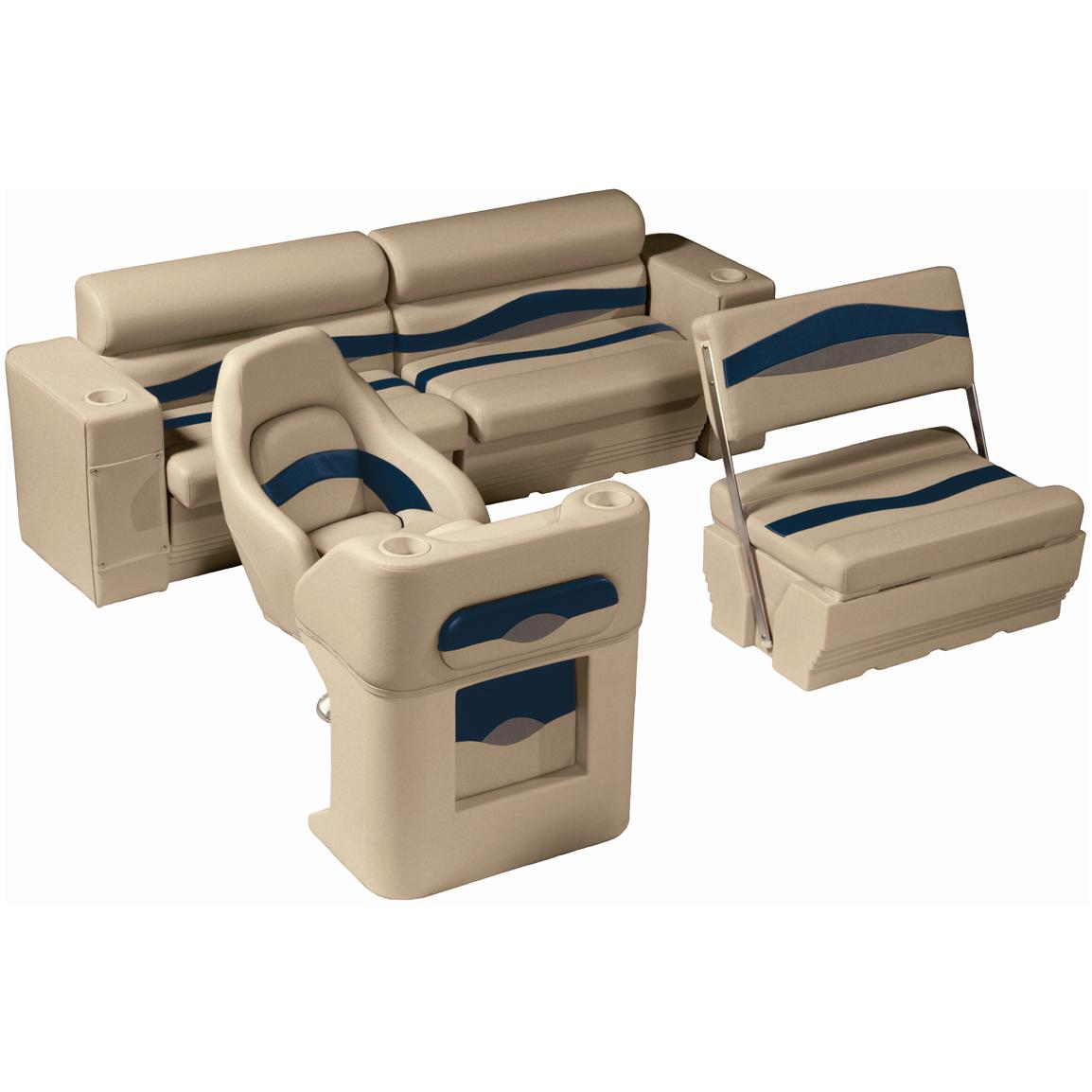 Wise® Premier Pontoon Traditional Rear Seat Group, Color D - Mocha Java Punch / Midnight / Rock Salt