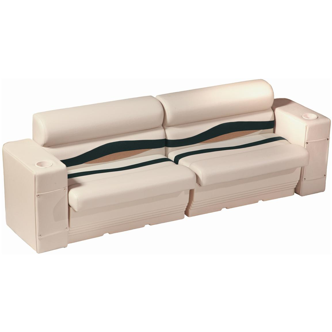 Wise® Premier Pontoon Rear or Side Bench Seating, Color B - Platinum Punch / Jade / Fawn
