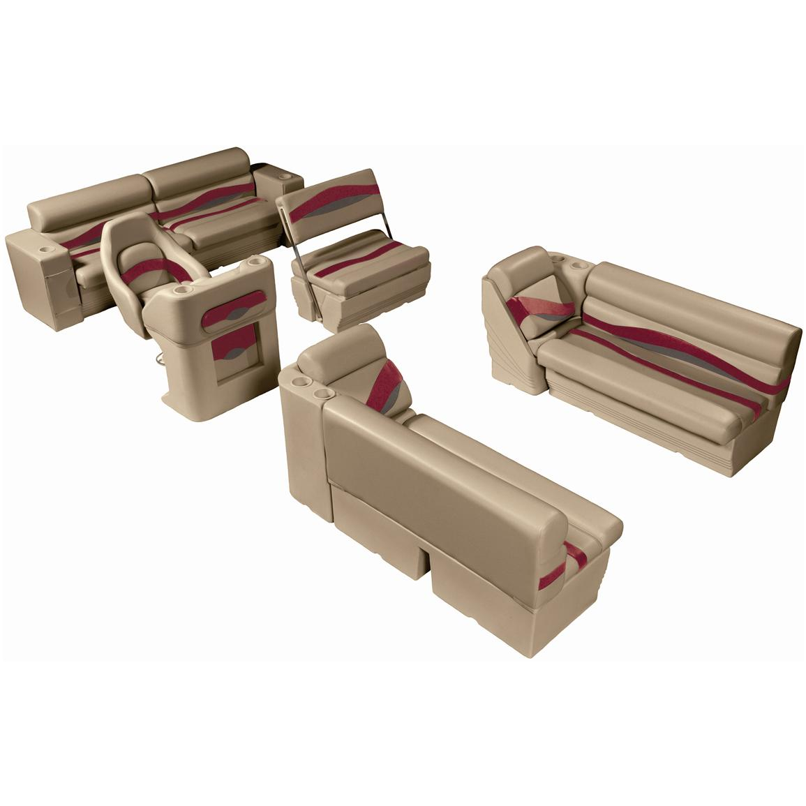 Wise® Premier Pontoon Traditional Seat Group, Color E - Mocha Java Punch / Dark Red / Rock Salt