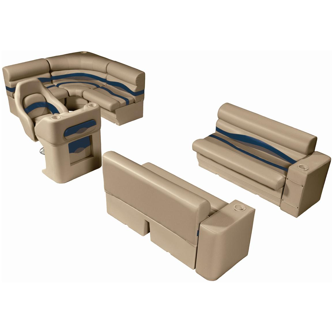 Wise® Premier Seat Group for 8' Rear Entry Pontoons, Color D - Mocha Java Punch / Midnight / Rock Salt