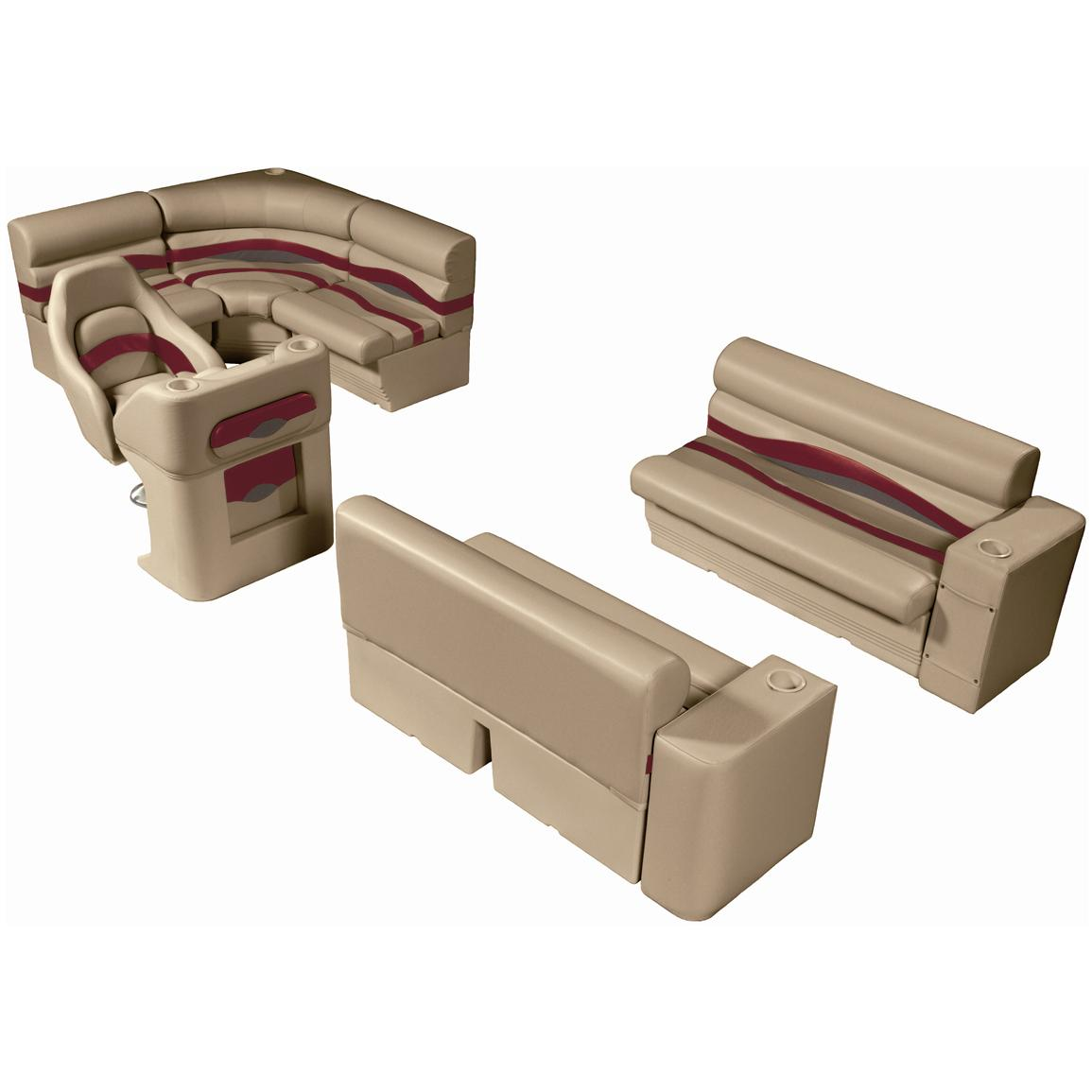 Wise® Premier Seat Group for 8' Rear Entry Pontoons, Color E - Mocha Java Punch / Dark Red / Rock Salt