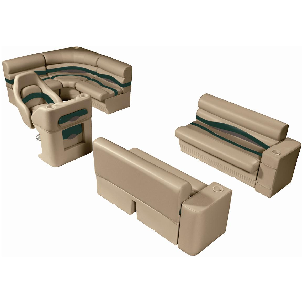 Wise® Premier Seat Group for 8' Rear Entry Pontoons, Color F - Mocha Java Punch / Evergreen / Rock Salt