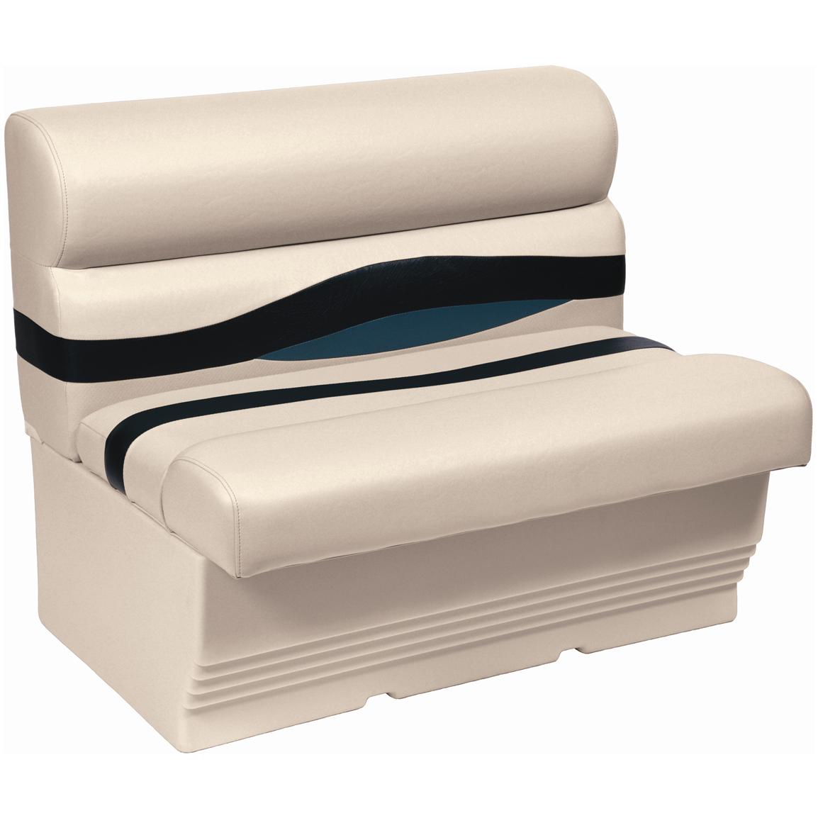 "Wise Premier® 45"" Pontoon Bench Seat, Color A - Platinum Punch / Navy / Cobalt"