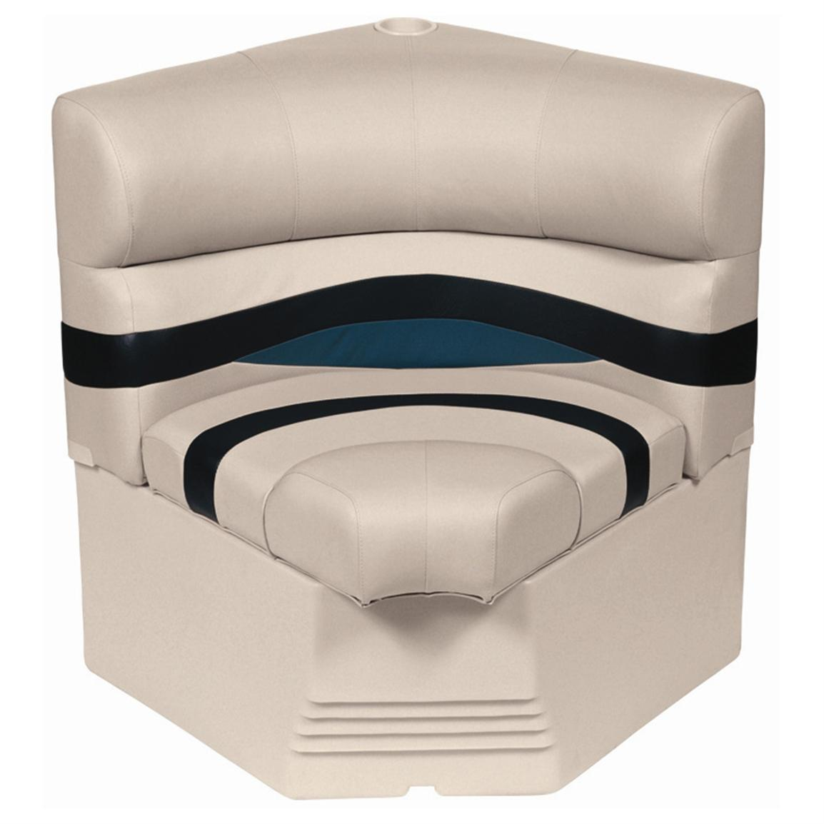 "Wise® Premier Pontoon 25"" Radius Corner Section Seat • Color A - Platinum Punch / Navy / Cobalt"