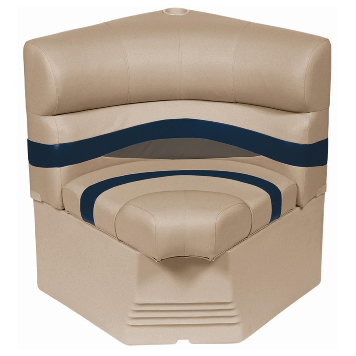 "Wise® Premier Pontoon 25"" Radius Corner Section Seat • Color D - Mocha Java Punch / Midnight / Rock Salt"