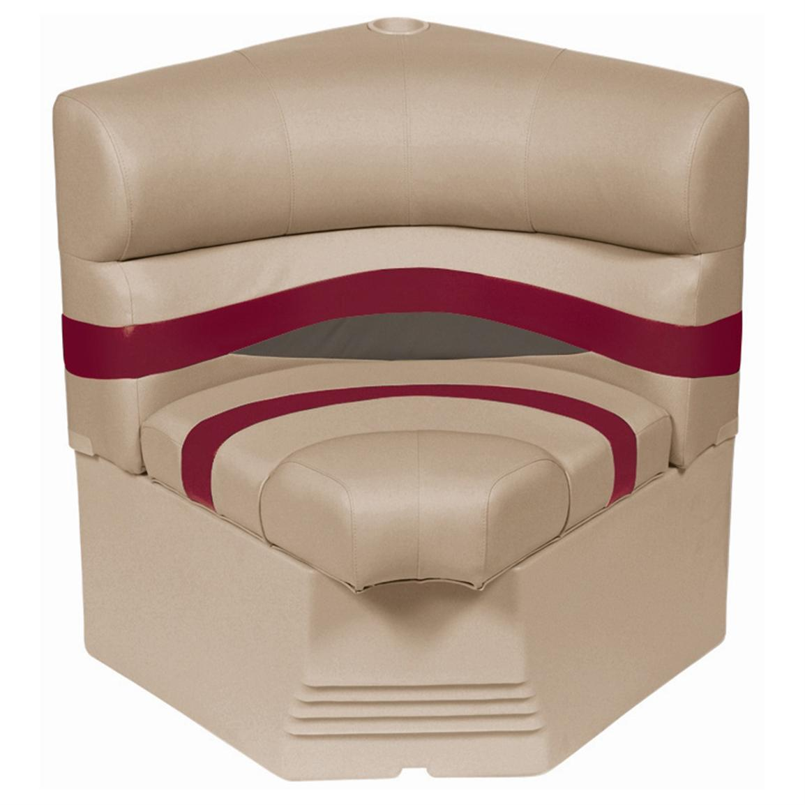 "Wise® Premier Pontoon 25"" Radius Corner Section Seat • Color E - Mocha Java Punch / Dark Red / Rock Salt"