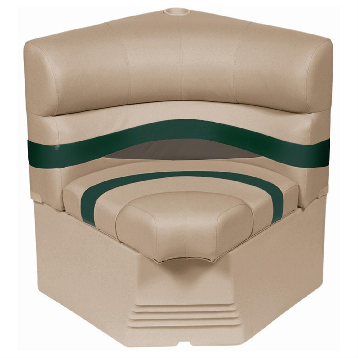 "Wise® Premier Pontoon 25"" Radius Corner Section Seat • Color F - Mocha Java Punch / Evergreen / Rock Salt"
