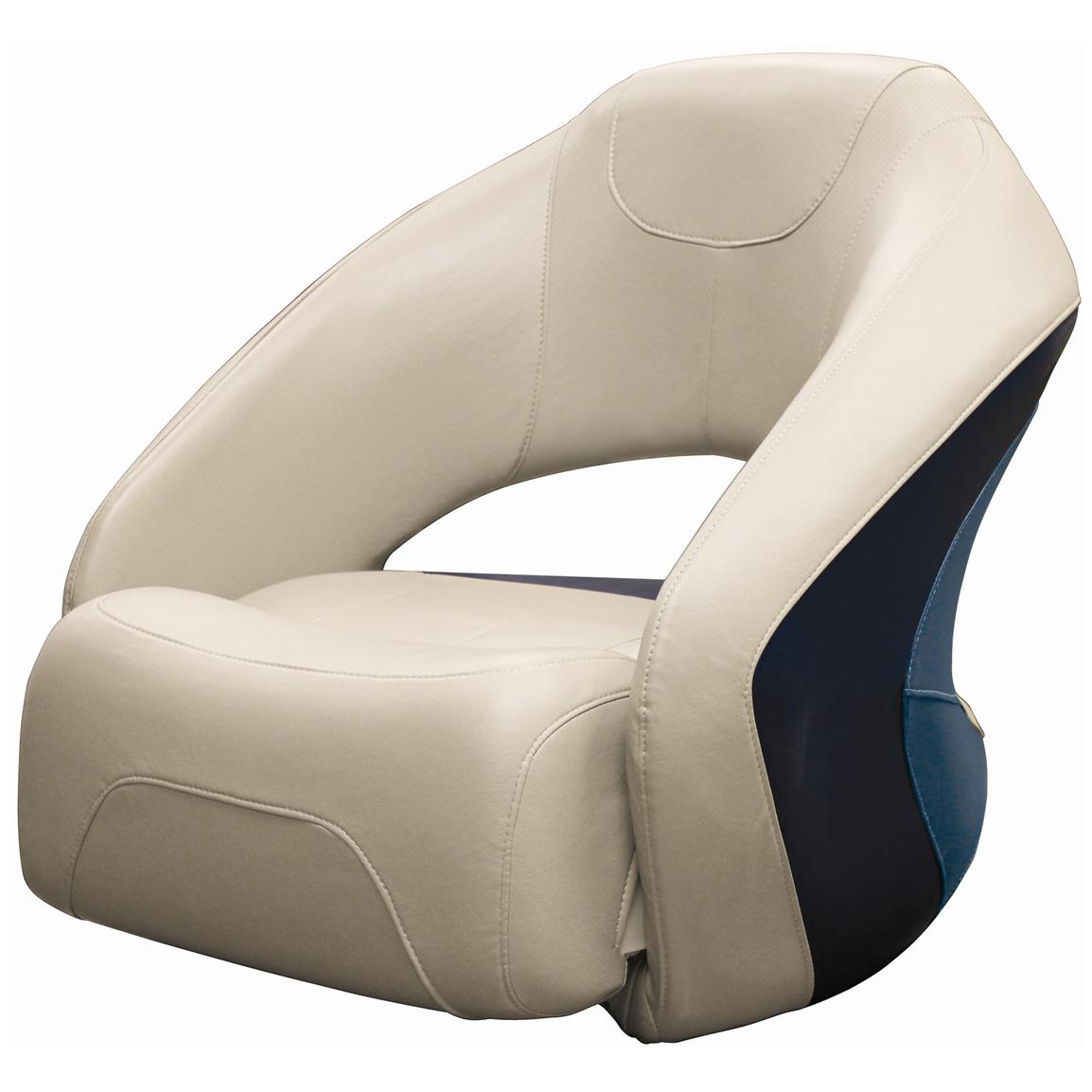 Wise® Premier Pontoon Bucket Seat with Flip-up Bolster, Color A - Platinum Punch / Navy / Cobalt