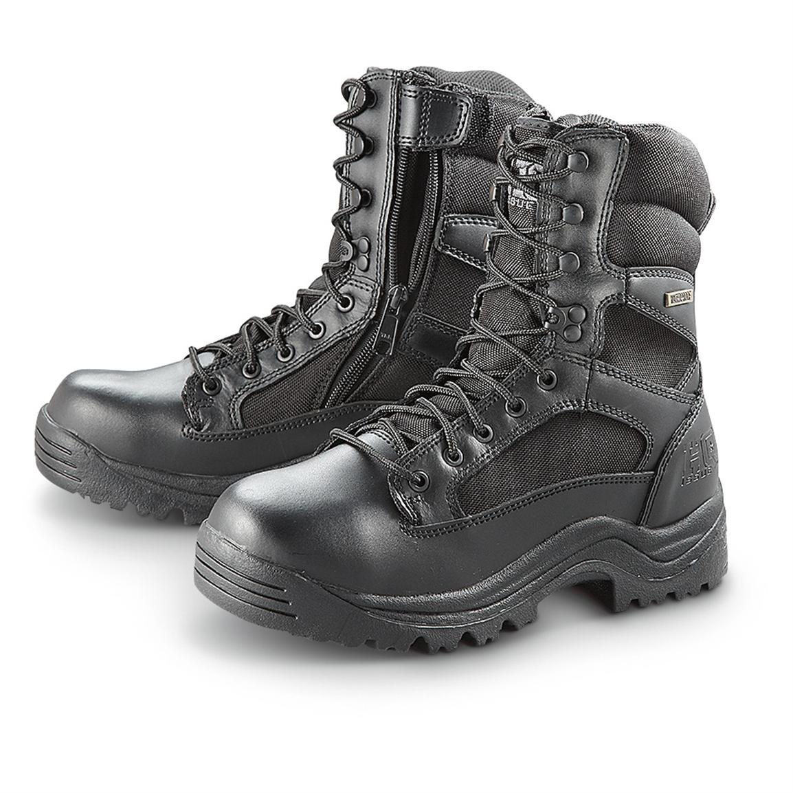HQ ISSUE Men's Waterproof Side Zip Tactical Boots, Black