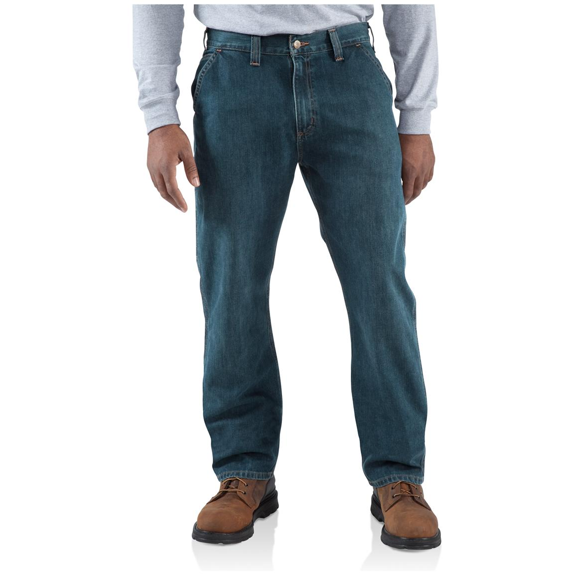 Carhartt® Relaxed Straight Fit Dungaree Jeans, Light Worn-in Blue