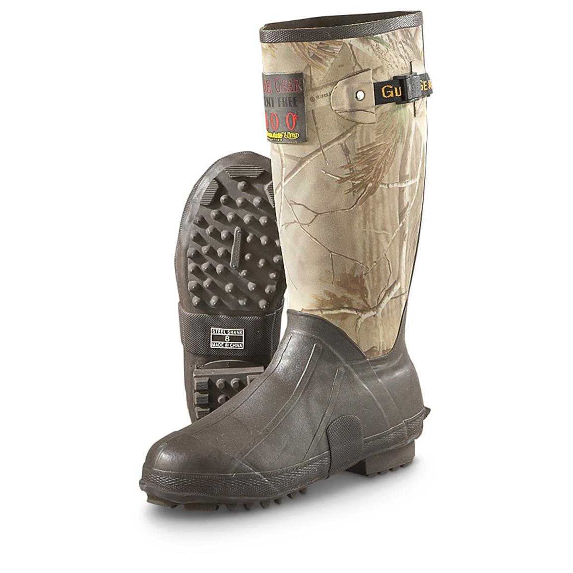 "Guide Gear Men's 15"" Insulated Rubber Boots, 400 Grams, Realtree AP Camo"