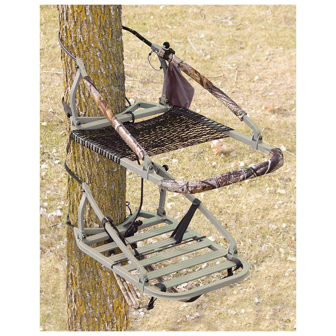 API Outdoors The Marksman Climber Aluminum Tree Stand • Knob adjusts seat and platform for level hunting  300-lb. capacity