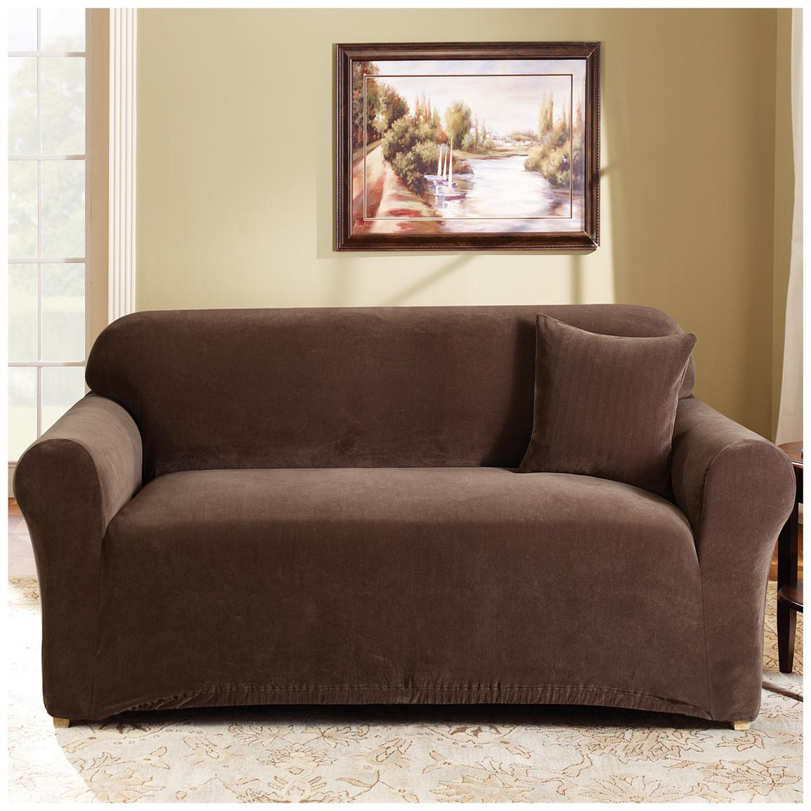 Sure Fit® Stretch Pearson Sofa Slipcover, Coffee
