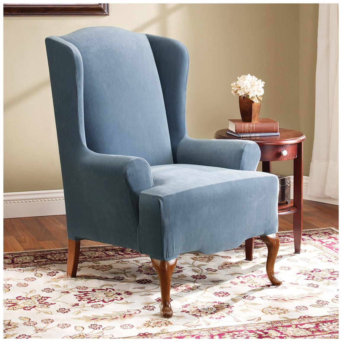 Sure Fit Stretch Pearson Wing Chair Slipcover Federal Blue