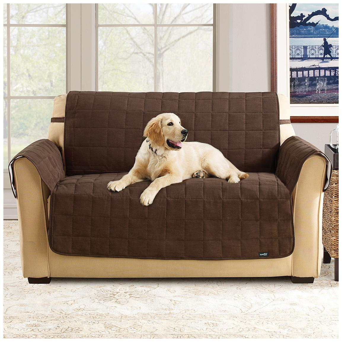 Sure Fit® Waterproof Quilted Suede Loveseat Pet Cover, Chocolate
