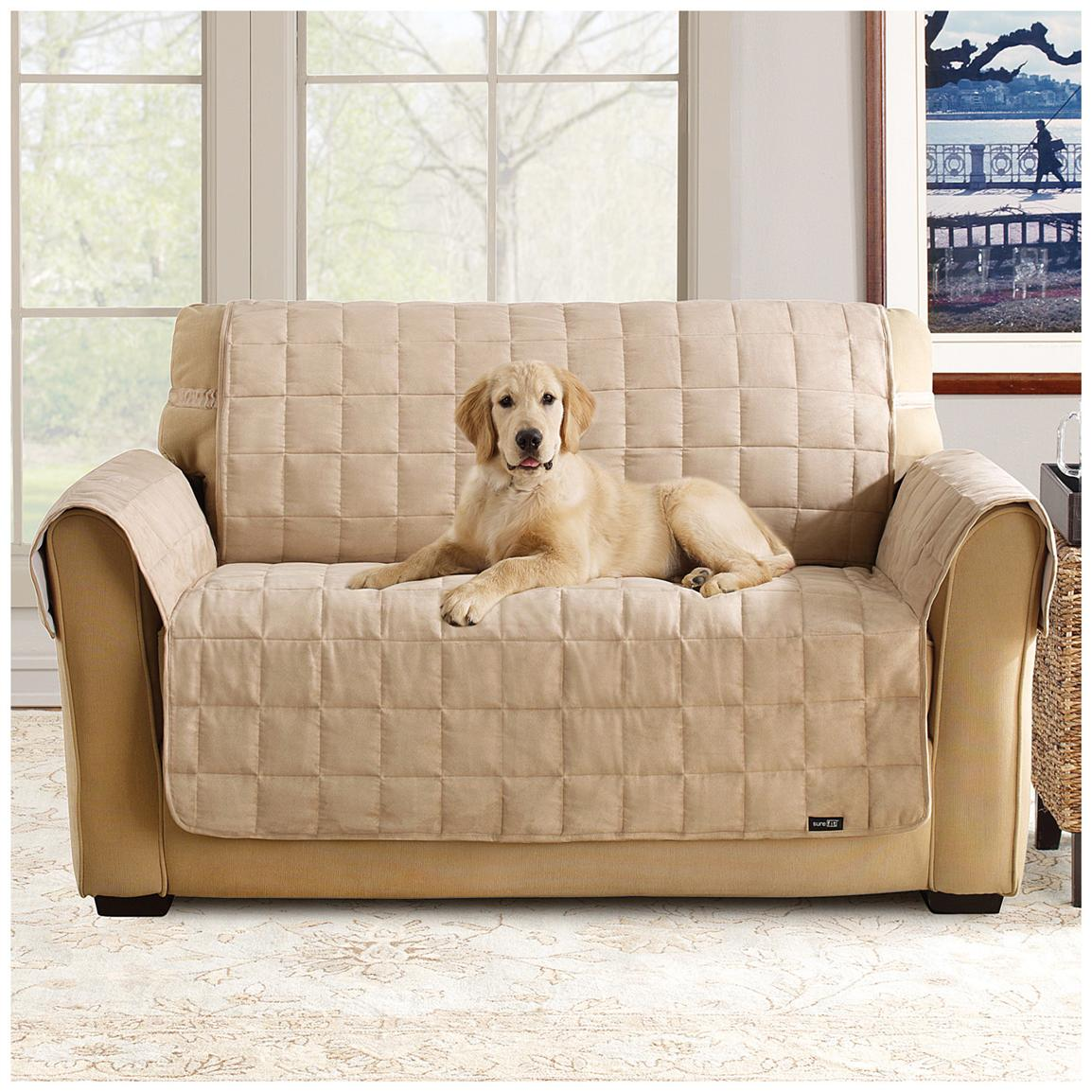 Waterproof Quilted Suede Sofa Pet Cover, Taupe, Loveseat version shown