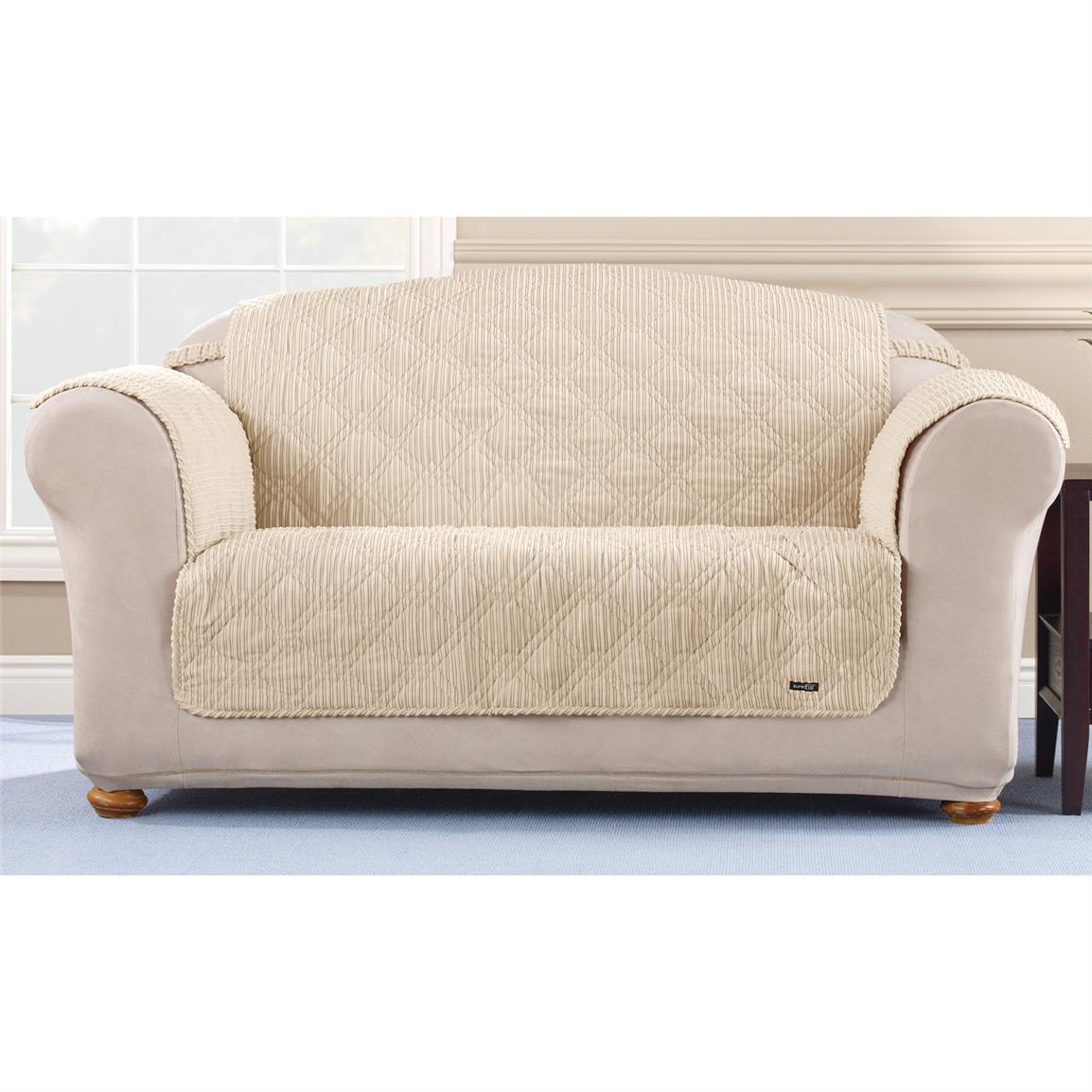 Sure Fit Quilted Corduroy Loveseat Pet Cover 292845 Furniture