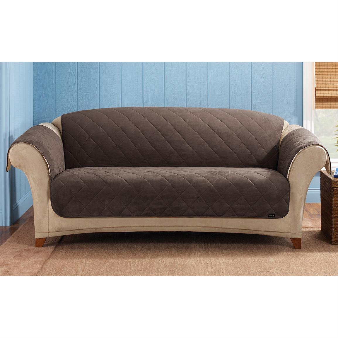 Sure Fit Reversible Suede Sherpa Sofa Pet Cover 292849