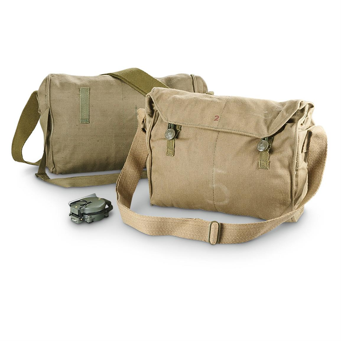 2 Used Czech Military Surplus Shoulder Bags, Olive Drab • 396-cu. in. capacity each