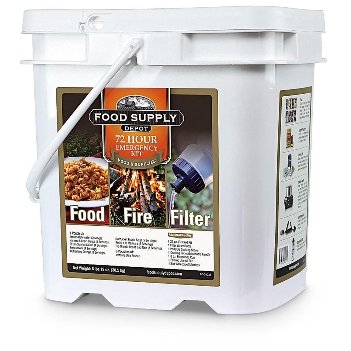 Food Supply Depot 72-hr. Food, Fire and Filter Bucket