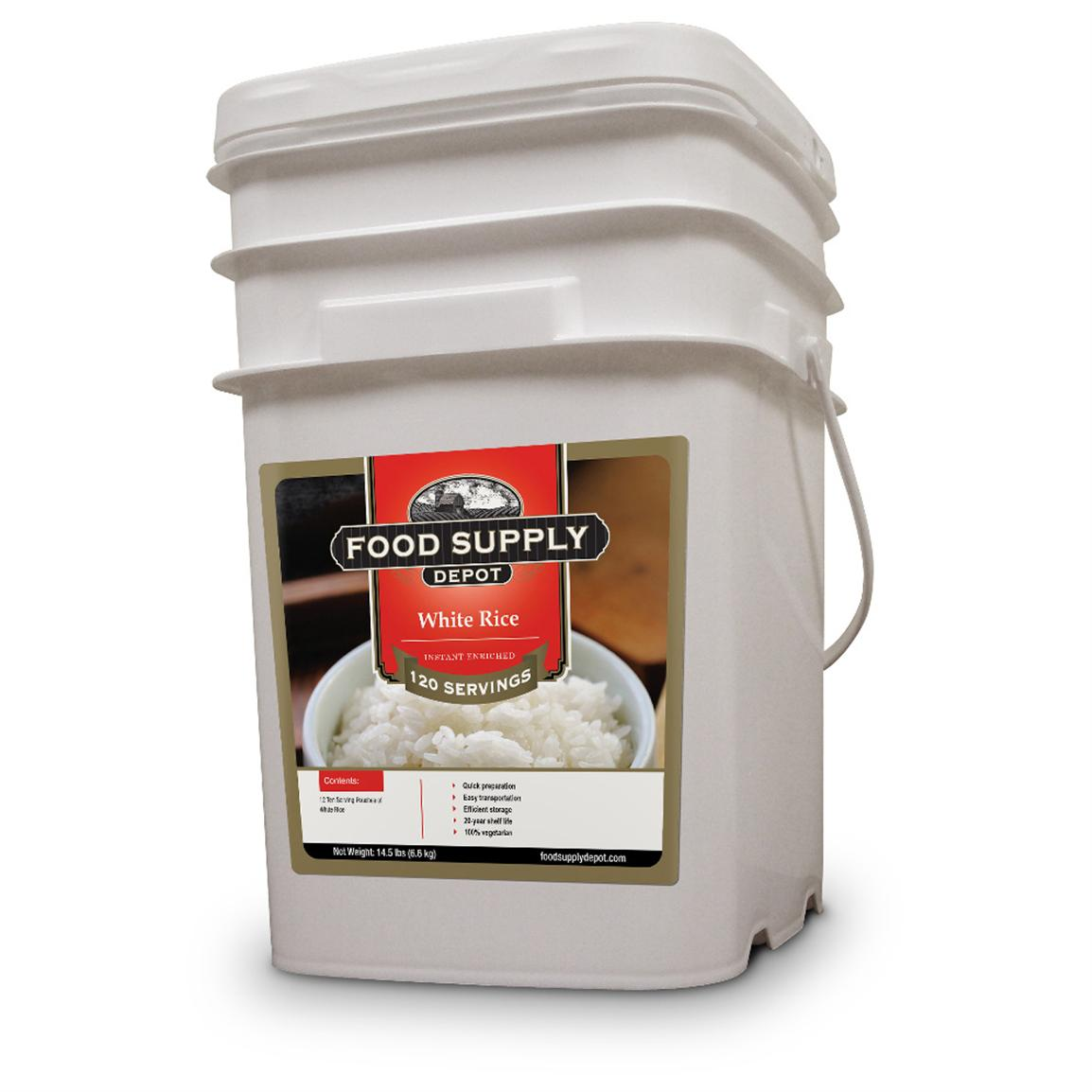 12-Pk. Bucket of Food Supply Depot White Rice