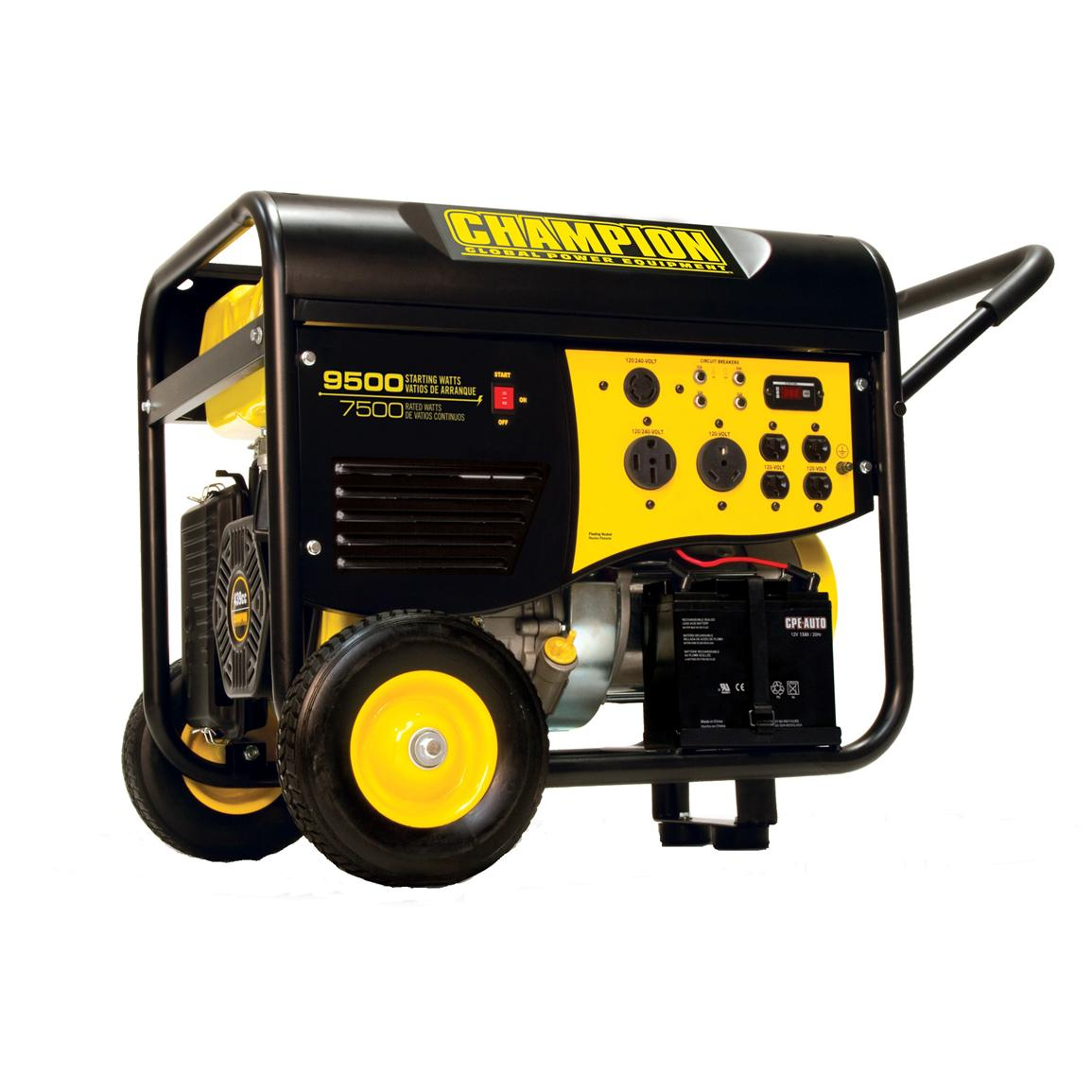 Champion Power Equipment Portable CARB-compliant 7,500 / 9,500-watt Electric Start 50-amp + RV Generator with Wheel Kit