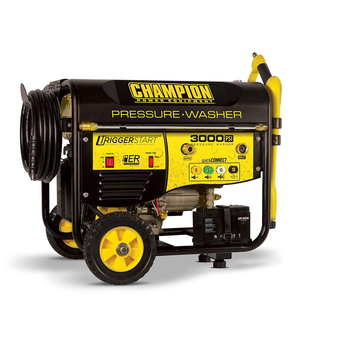 Champion Power Equipment 3,000 PSI CARB-compliant Trigger Start Pressure Washer with Wheel Kit