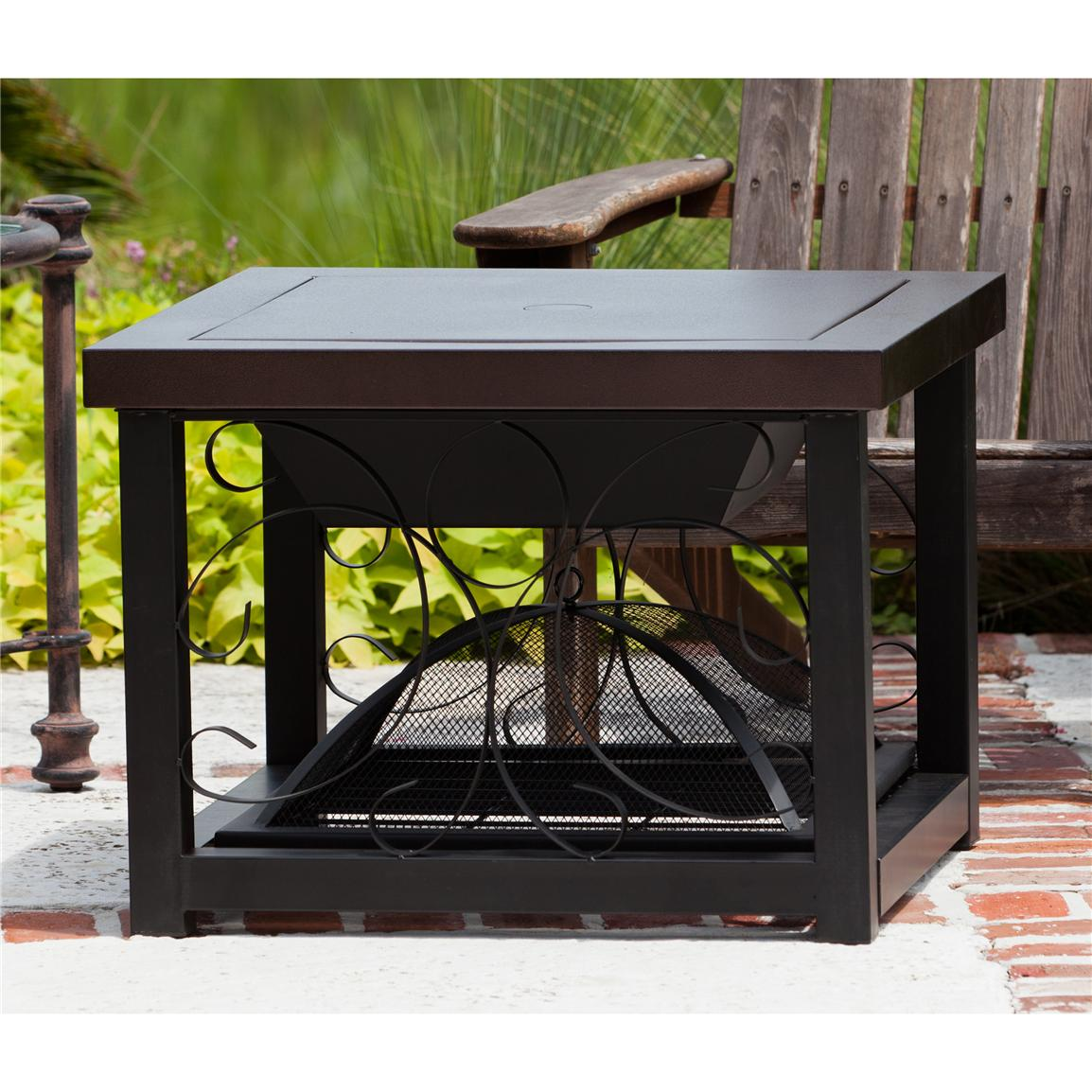 Fire Sense Hammer Tone Bronze Finish Cocktail Table Fire Pit