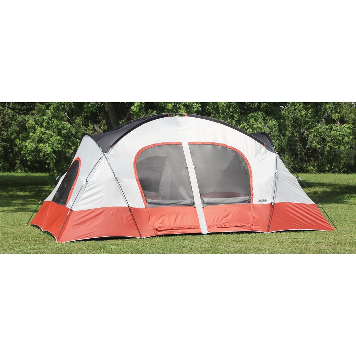 Texsport® Bull Canyon 2-room Cabin Dome Tent, Apricot / Gray / Firecracker Orange, Without Rainfly