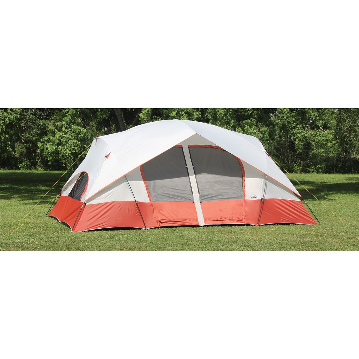 Texsport® Bull Canyon 2-room Cabin Dome Tent, Apricot / Gray / Firecracker Orange, With Rainfly