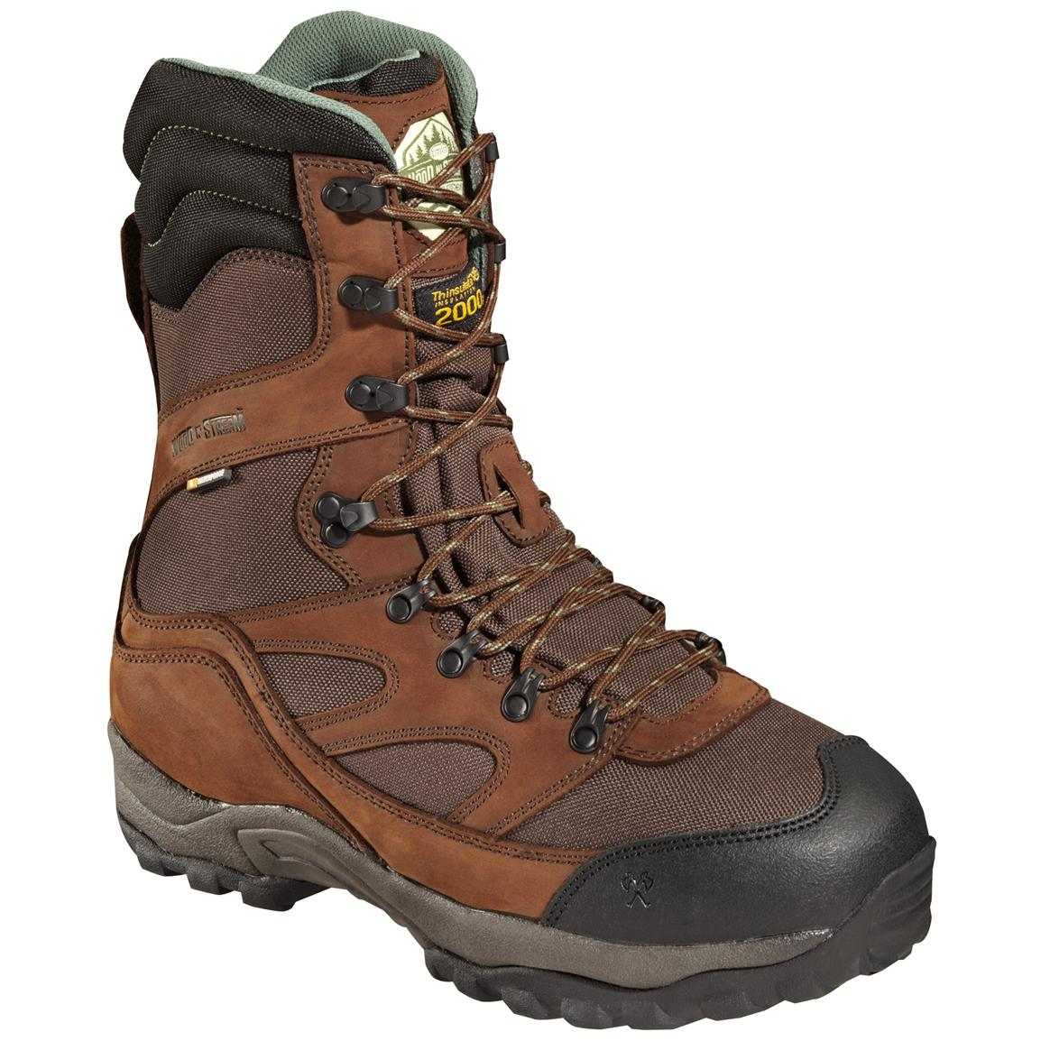 "Men's 10"" Waterproof Breathable Wood 'N' Stream™ Mountain Ridge 2,000-gram Thinsulate™ Ultra Insulation Boots, Brown"