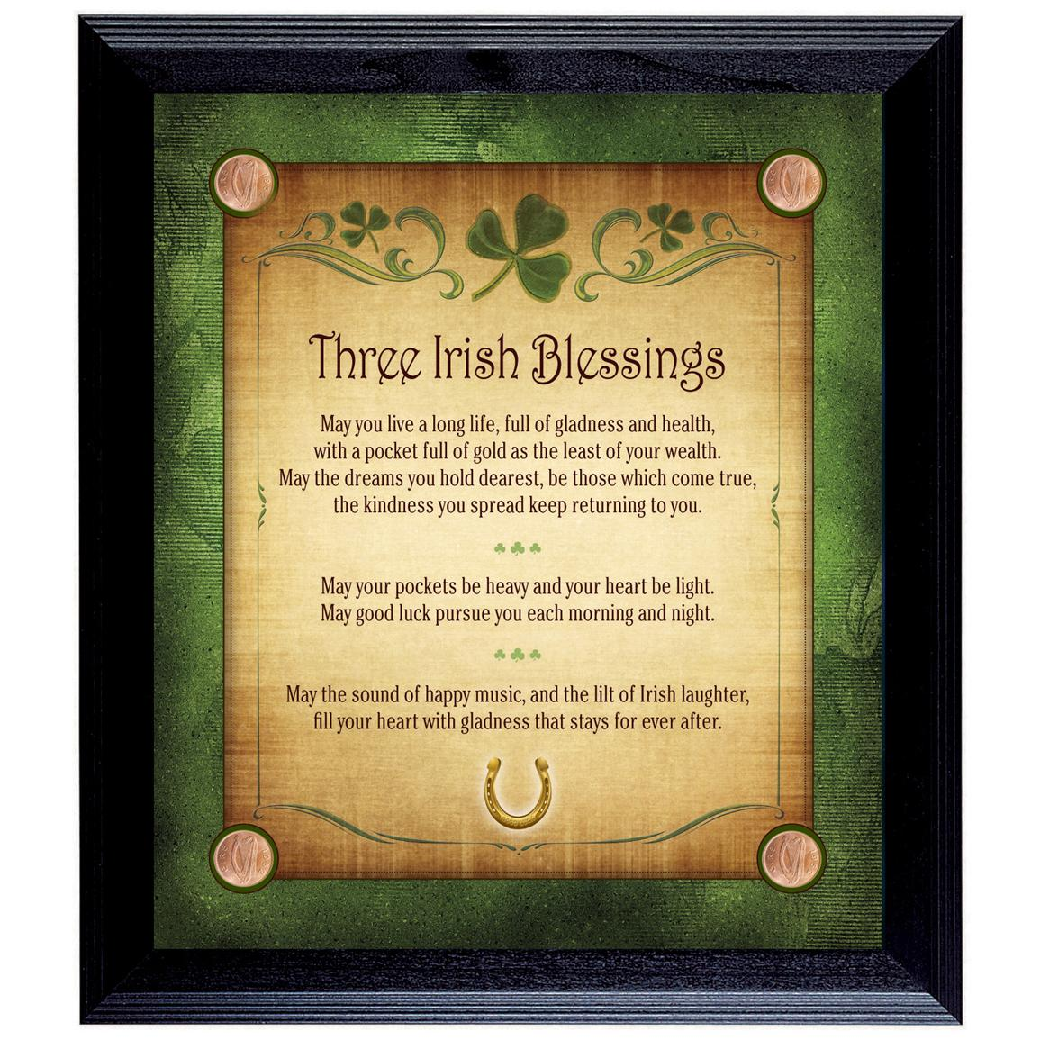 Three Irish Blessings with Four Lucky Irish Pennies Wall Frame