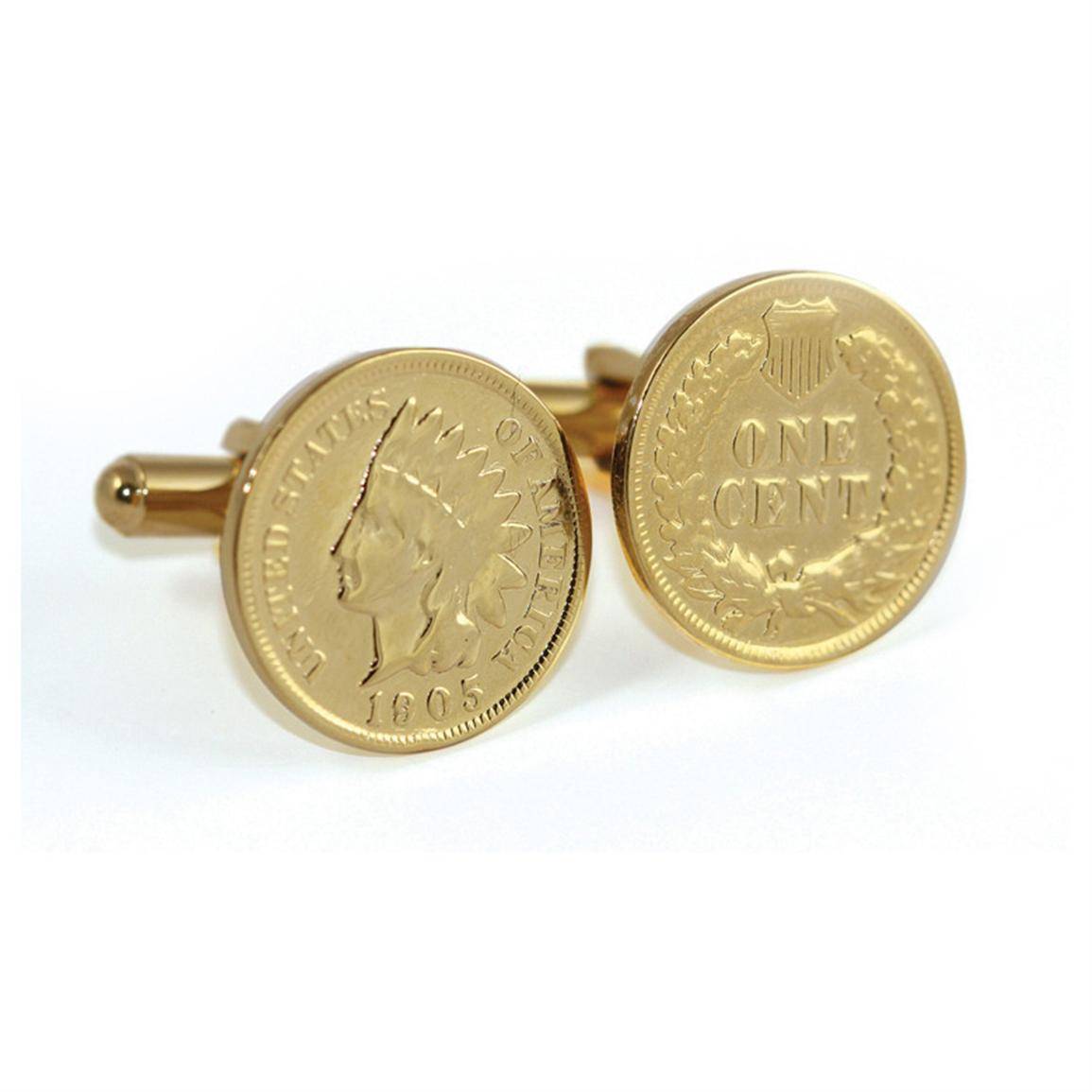 24KT Gold-layered Indian Head Coin Cuff Links