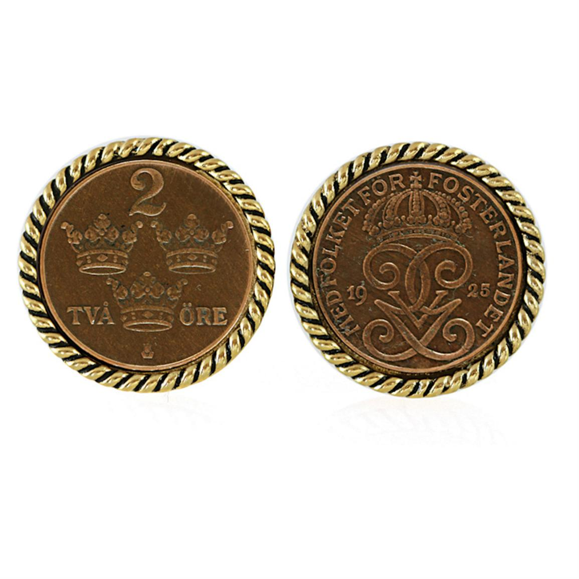 Swedish Coin ORE Crown Cuff Links from American Coin Treasure