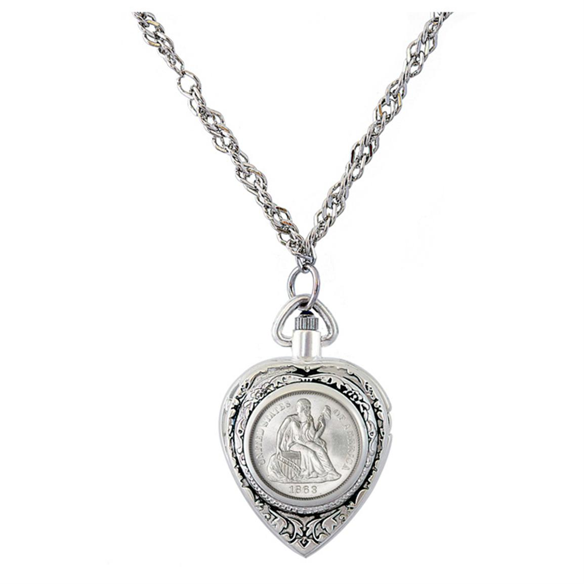 Civil War Coin Heart Watch Pendant Necklace from American Coin Treasures
