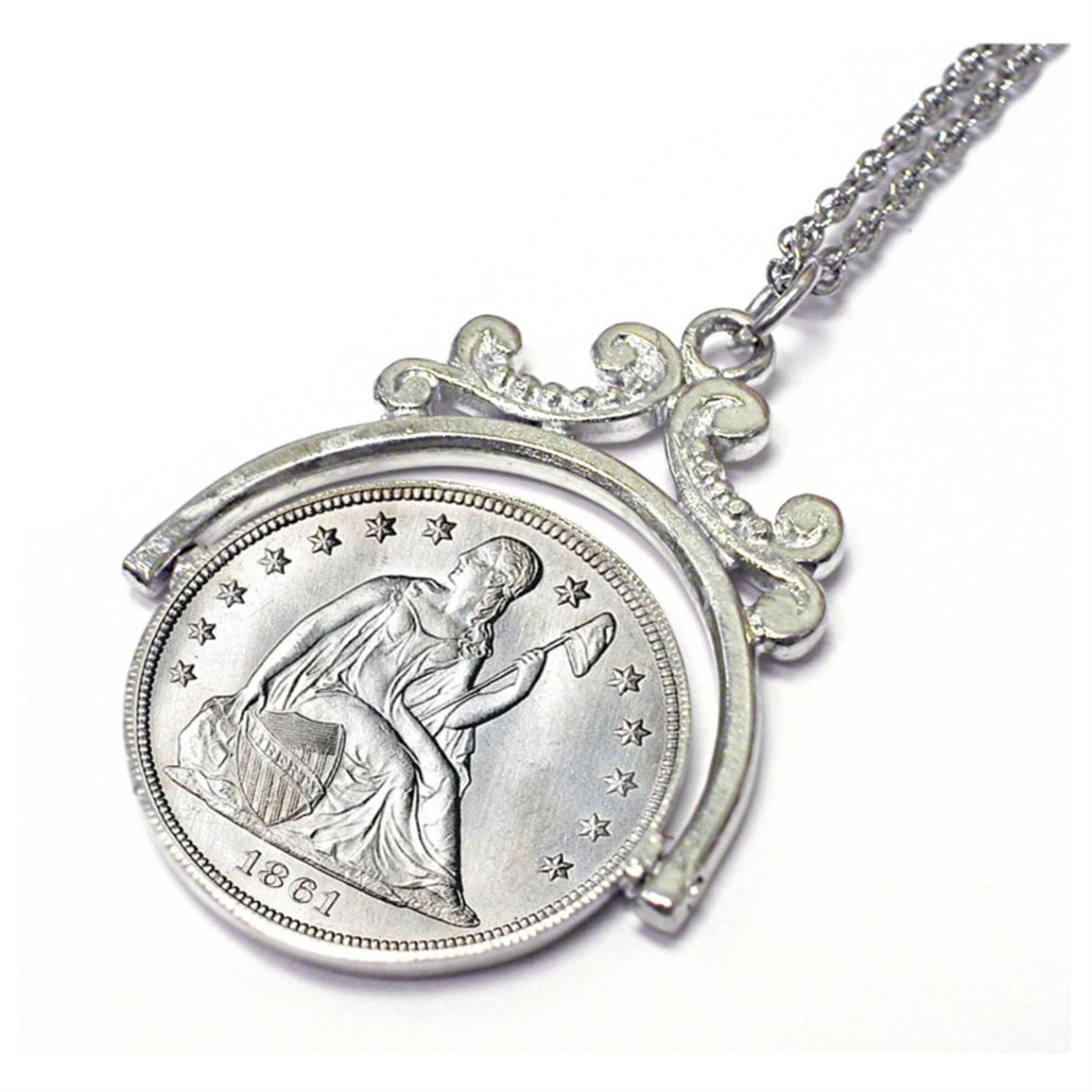 Civil War Silver Seated Liberty Coin Spinner Pendant from American Coin Treasures