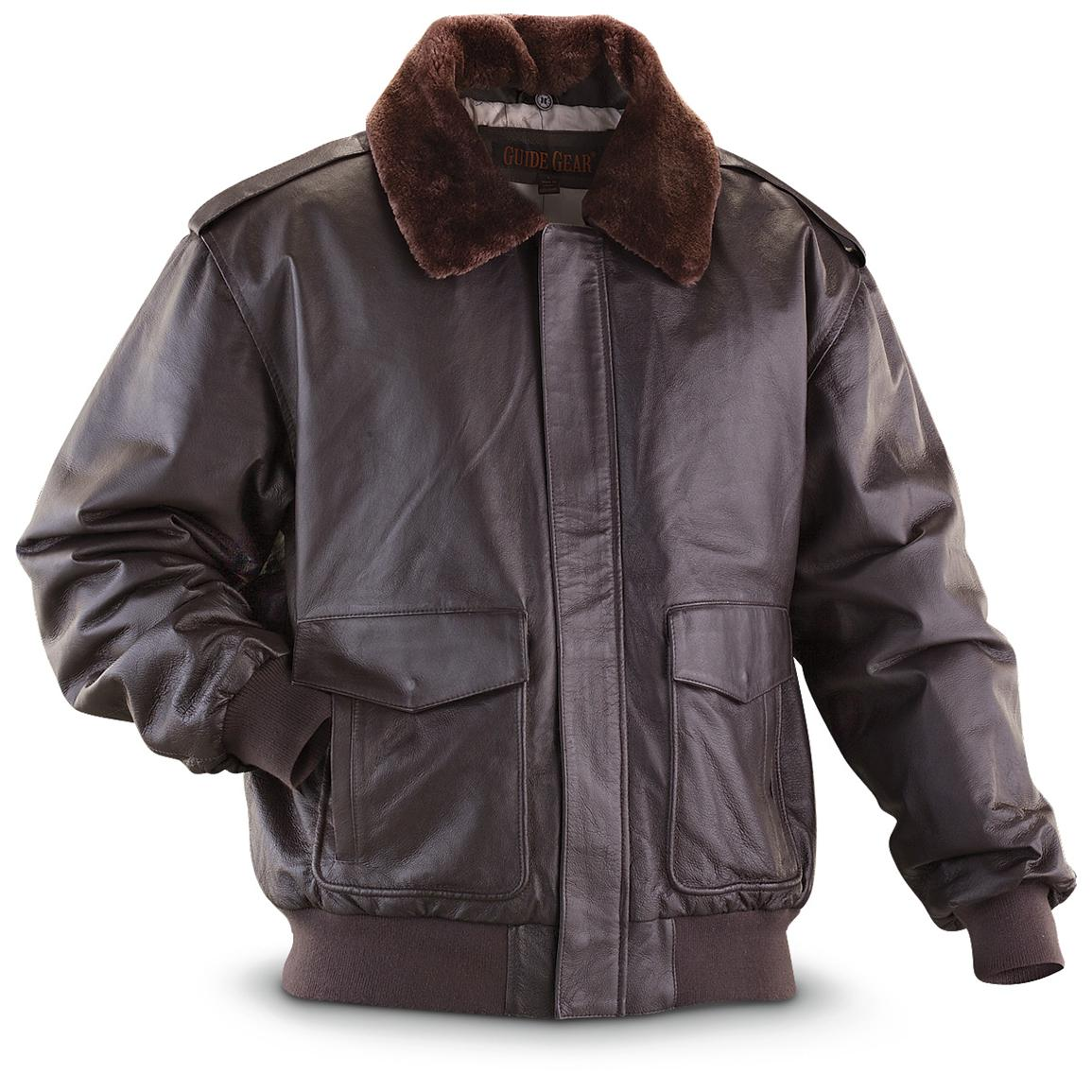 Guide Gear® Nappa Bomber Jacket, Brown