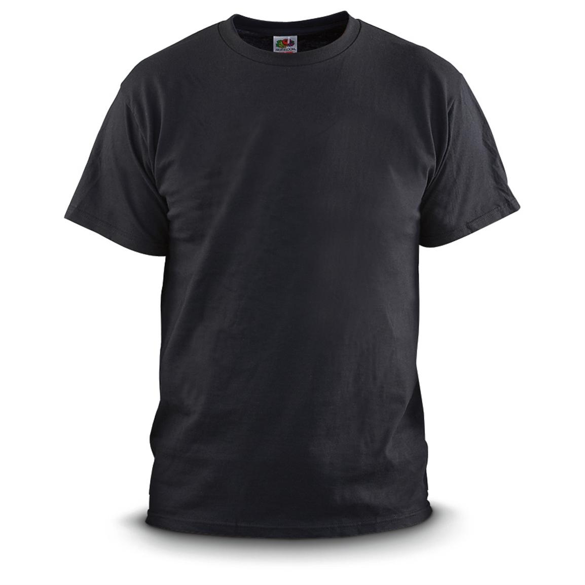 6 New U.S. Military Surplus T-shirts, Black