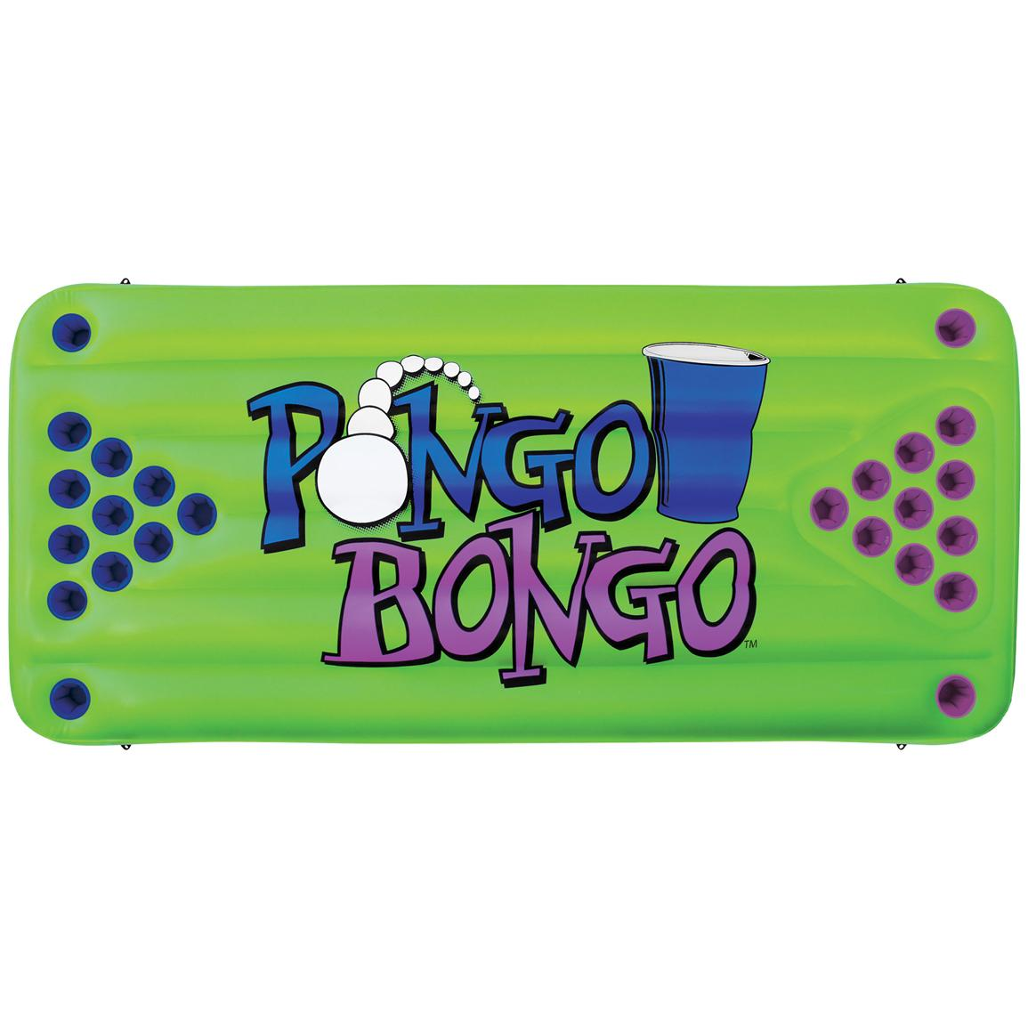 Pongo Bongo is a floating inflatable game table equipped with 12 cup holders on each side