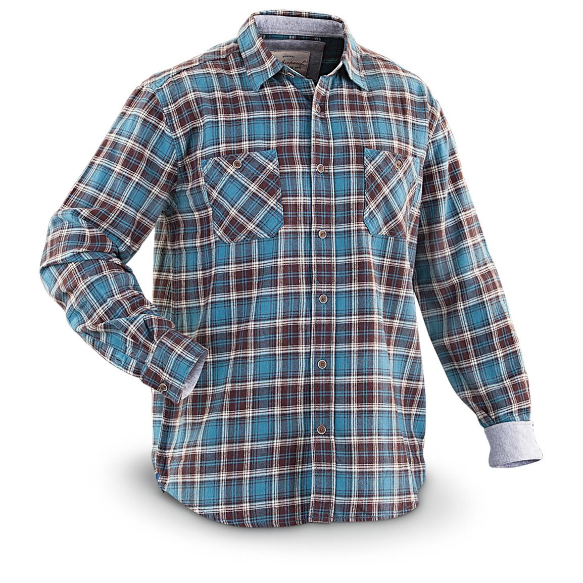 Weatherproof® Vintage Long-sleeved Flannel Shirt with Fleece Trim, Canal Blue