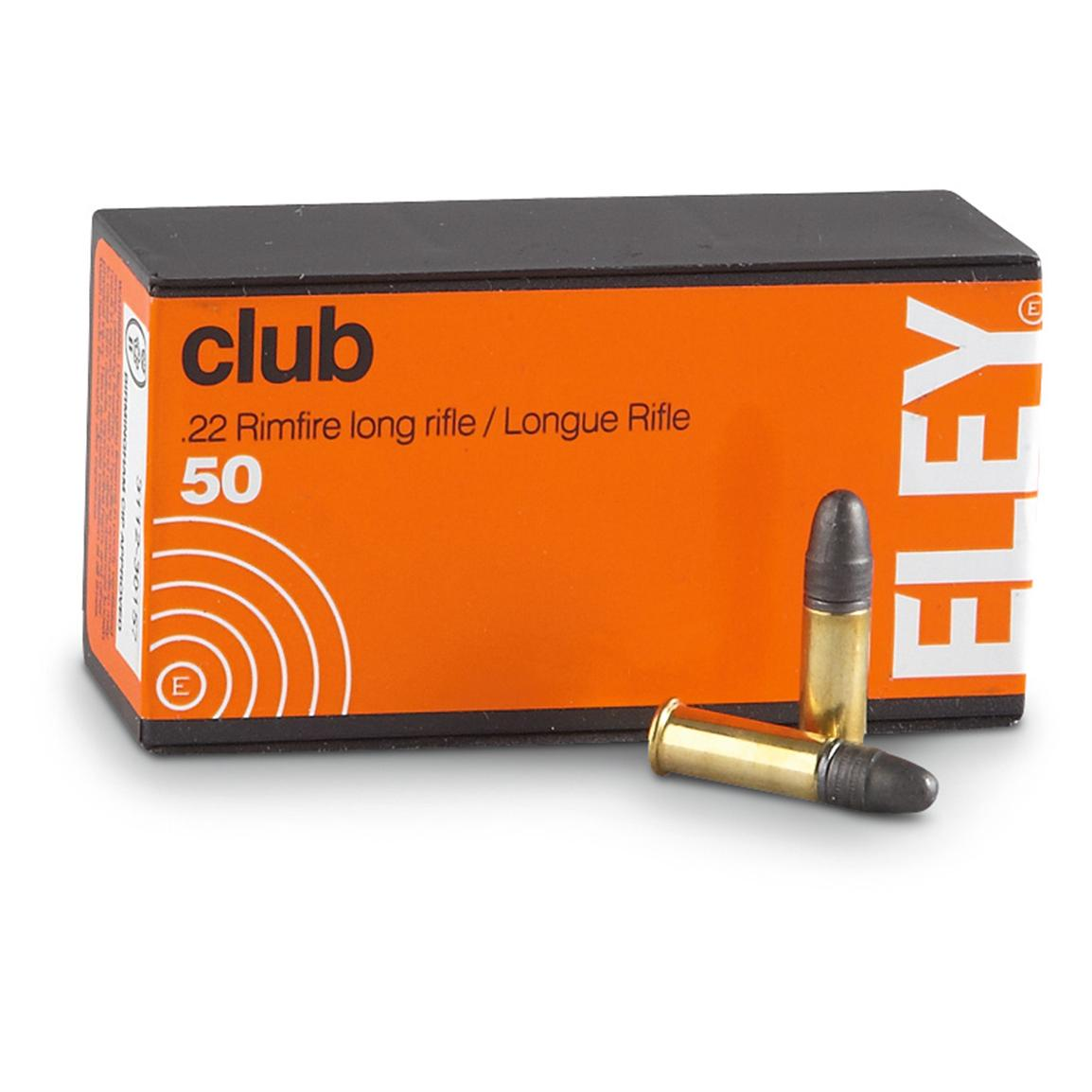 Eley Club, .22 Long Rifle, LRN, 40 Grain, 50 Rounds