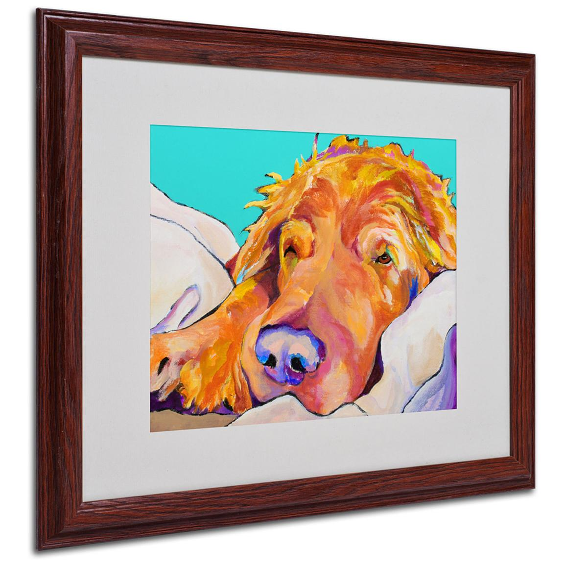 "Pat Saunders-White ""Snoozer King"" Framed Matted Art, Walnut"
