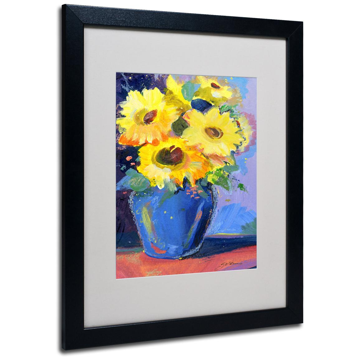 "Sheila Golden ""Sunflowers II"" Framed Matted Art, Black"