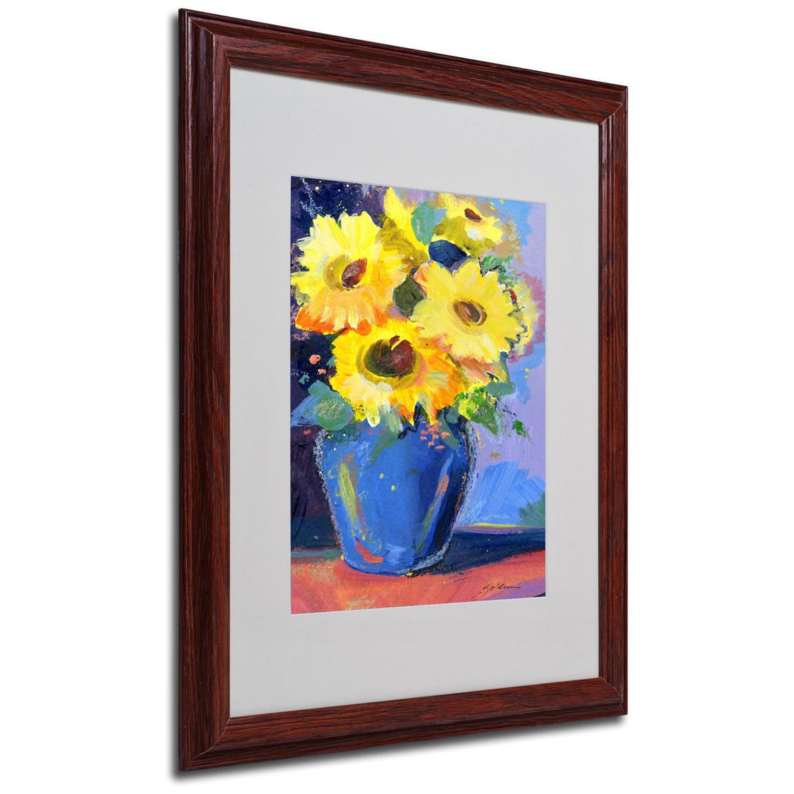 "Sheila Golden ""Sunflowers II"" Framed Matted Art, Walnut"