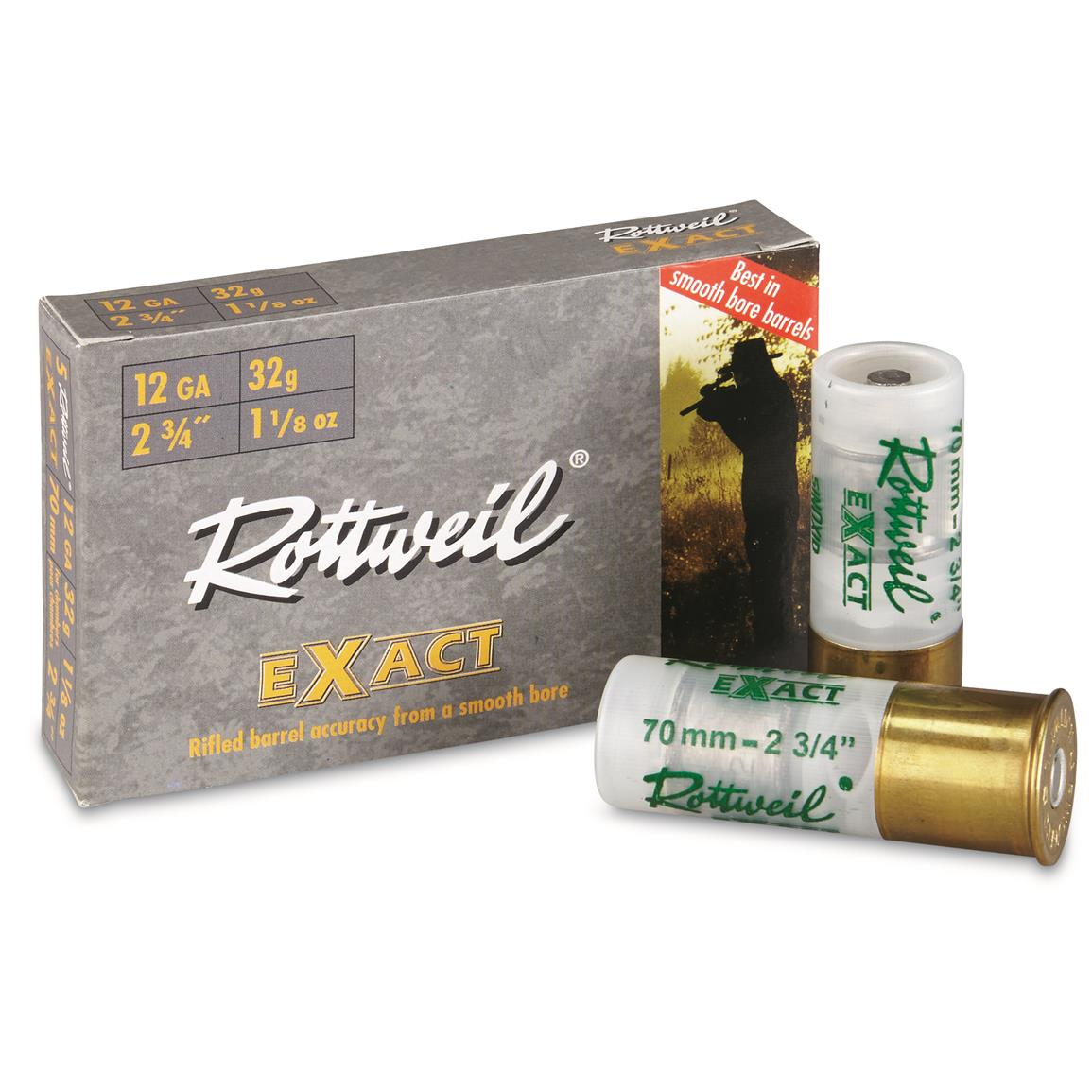 "Rottweil Exact, 12 Gauge, 2.75"" Shell, 1 1/8 oz. Slug, 5 Rounds"