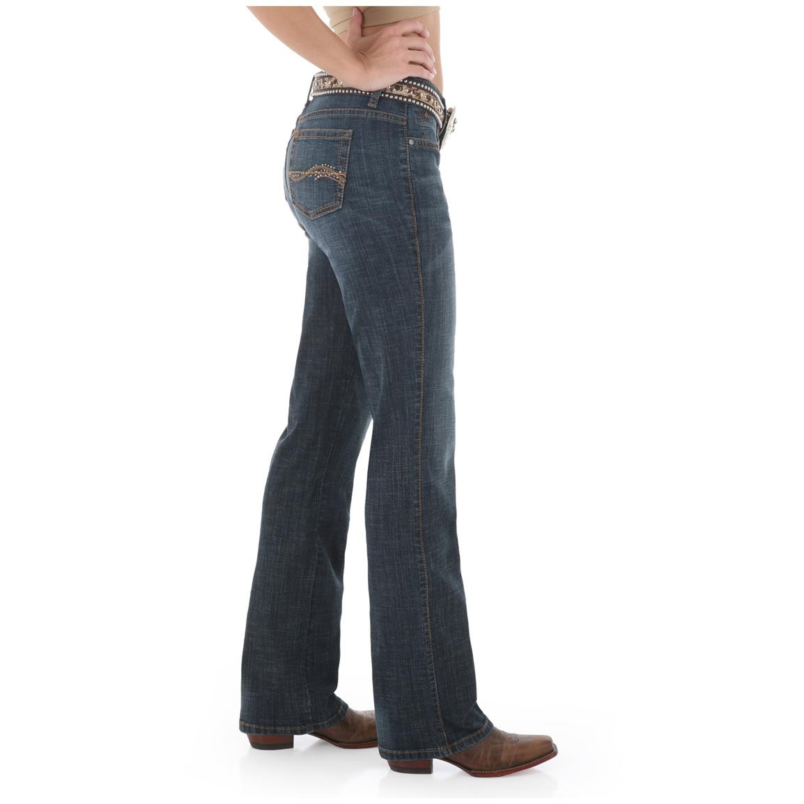 Women's Aura from the Women at Wrangler® Instantly Slimming Stretch Jeans, Autumn Gold - Side View