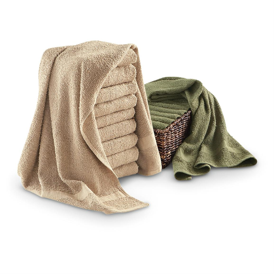 10 Cotton Terry Towels • Khaki or Olive